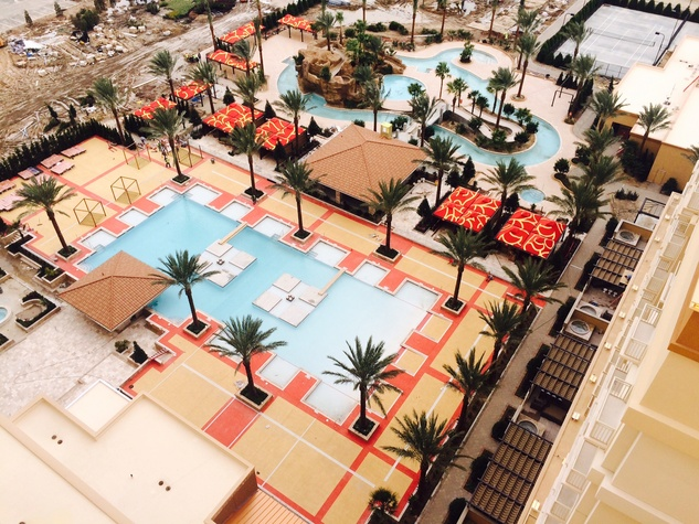 View of Golden Nugget Lake Charles pool from hotel balcony