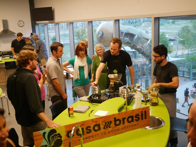 guests learning at Thinkery21 from casa brasil coffee