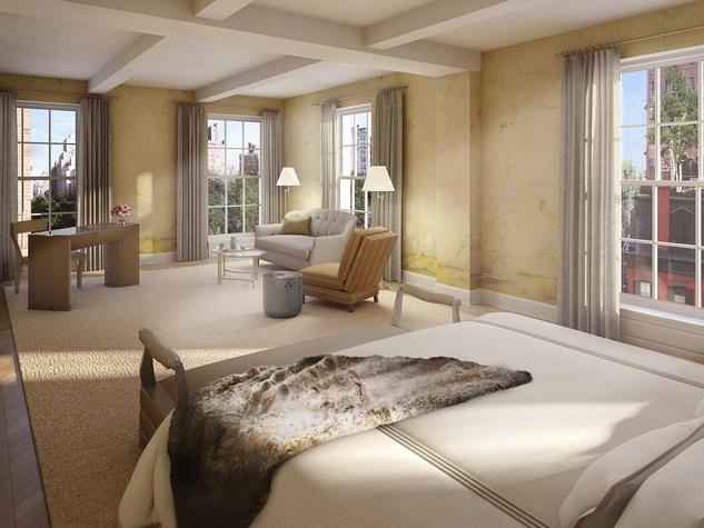 18 Gramercy Park, Leslie Alexander, NYC penthouse, bedroom rendering