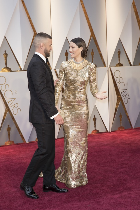 Justin Timberlake and Jessica Biel at 2017 Oscars