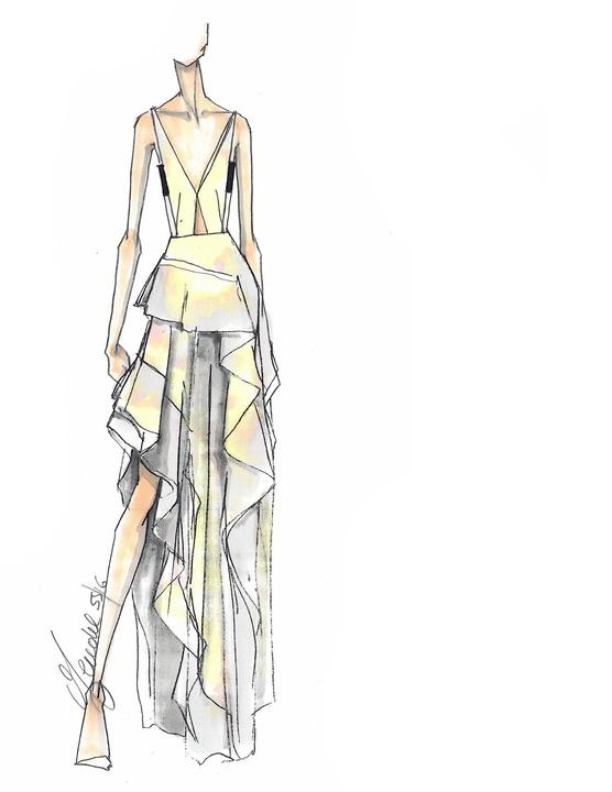 J Mendel inspiration sketch for New York Fashion Week spring 2016