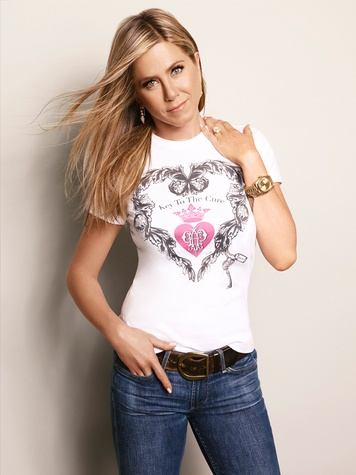 Jennifer Aniston in Key to the Cure Limited Edition Emilio Pucci T-Shirt October 2013