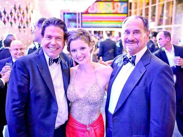 John Evatz, from left, Leah Edwards and Ed Chapman at Bering Omega's Sing for Hope after-party