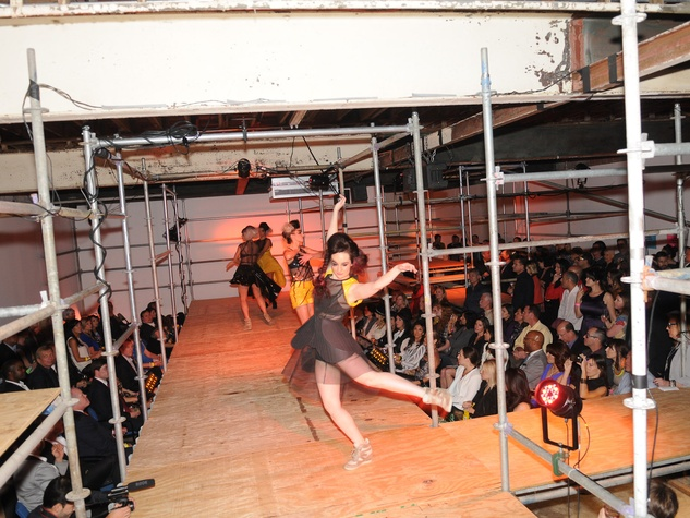 3 dancers and crowd at Diverseworks' Fashion Fete