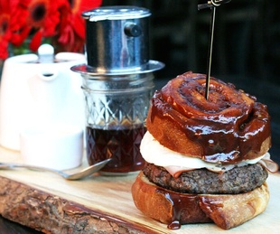 Houston, fancy breakfast sandwiches, June 2017, sticky bun breakfast burger at Bosscat Kitchen