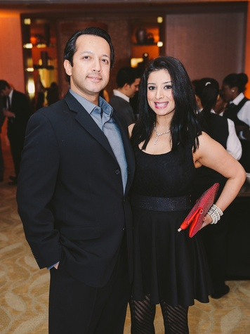 David George and Sahrish Agha at Houston Symphony Young Professionals Backstage's Luck be a Lady event November 2013