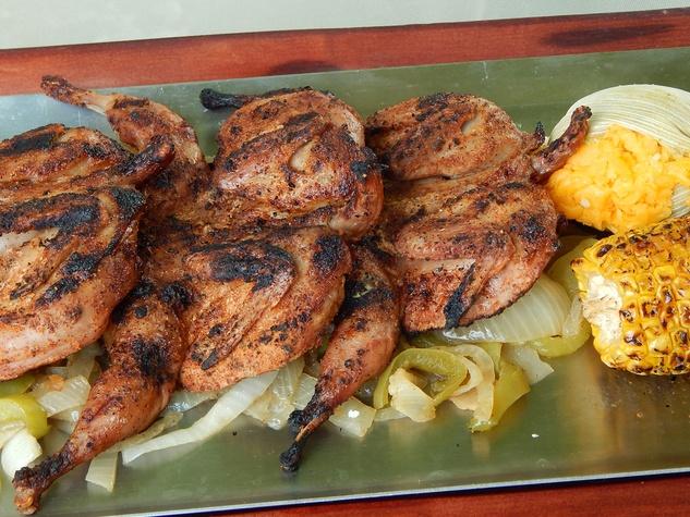 Sylvia's Eldridge mesquite-grilled quail with corn August 2014