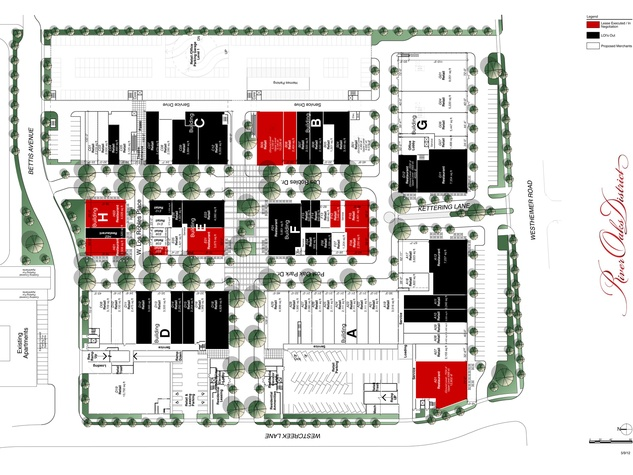River Oaks District, 4444 Westheimer, site plan, December 2012