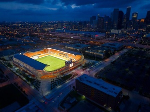 Compass Stadium, night, aerial, soccer