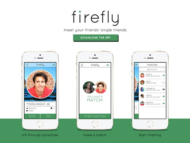 Firefly dating app with three screenshots of app