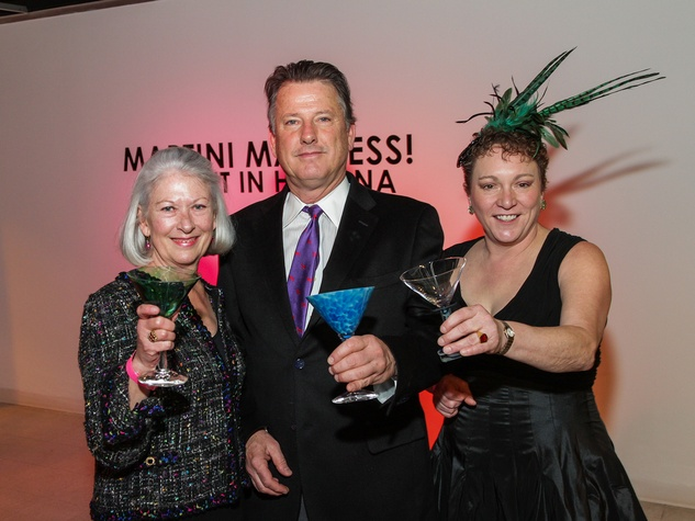 8 Betsy and Chuck Powell, from left, with Julie Farr at Martini Madness February 2014