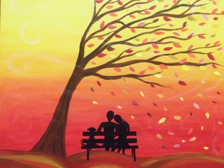 """Pinot's Palette """"Breezy Fall"""" painting"""
