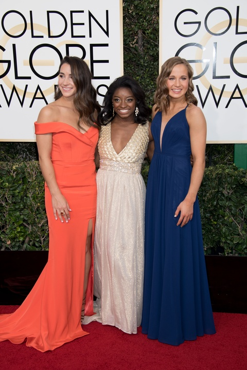 Aly Raisman, Simone Biles, and Madison Kocian at Golden Globes 2017