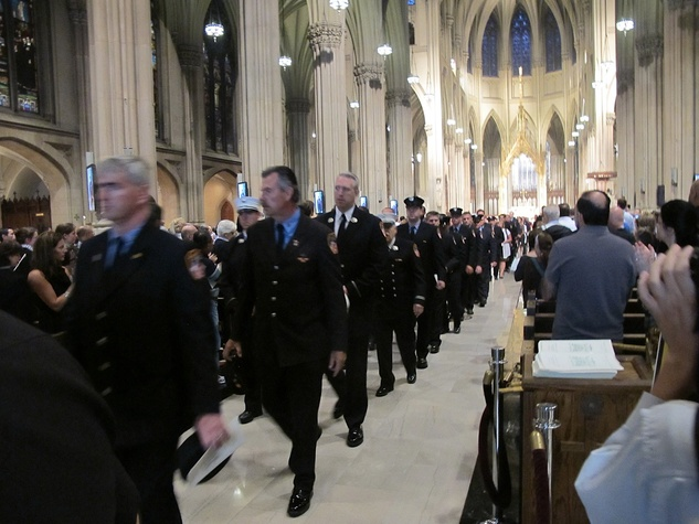 News_Katie_9-11_Cathedral of Saint Patrick_Firemen in single file