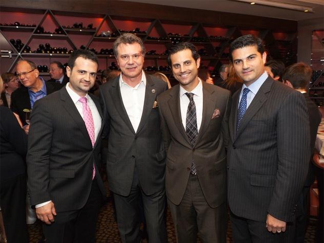 21 Gilad Zadok, from left, Francois-Paul Journe, Jonathan Zadok and Segev Zadok at Zadok's F.P. Journe dinner November 2013