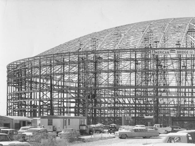 Astrodome under construction frame skeleton