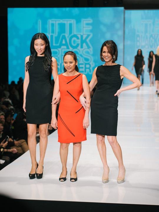 69 Fashion Houston Night 1 November 2014 Little Black Dress designers Natthakan Chompuwiset with muse Jessica Rossman, mentor David Peck
