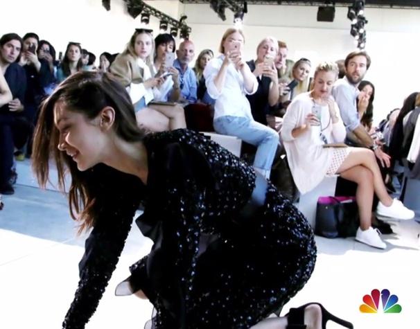 Bella Hadid model splat at Michael Kors