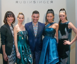 Carrie Colbert, Rubin Singer, and models at Dress for Dinner
