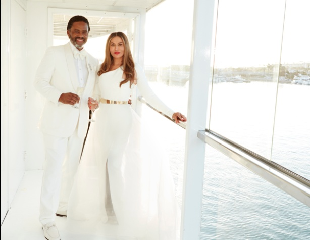 Tina Knowles in Romona Keveza gown at wedding to Richard Lawson