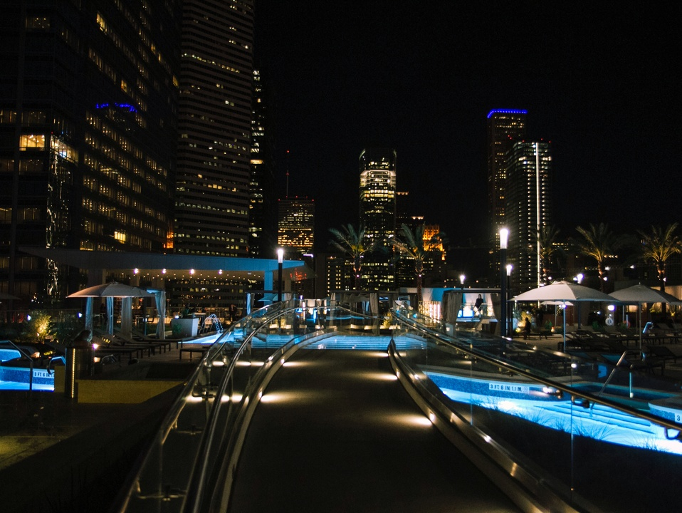 Houston, Marriott Marquis grand opening party, April 2017, terrace