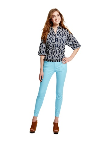 Joe Fresh boxy top, $29 In stores and online, April, Joe Fresh color denim with ankle zipper, $29 In stores and online, April