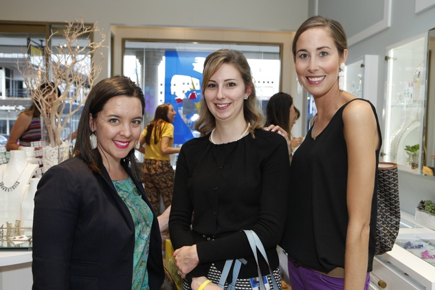 4 Hannah Fleming, from left, Stacey Yellowless and Leigh Ann Laughlin at WOW with Kendra Scott October 2014