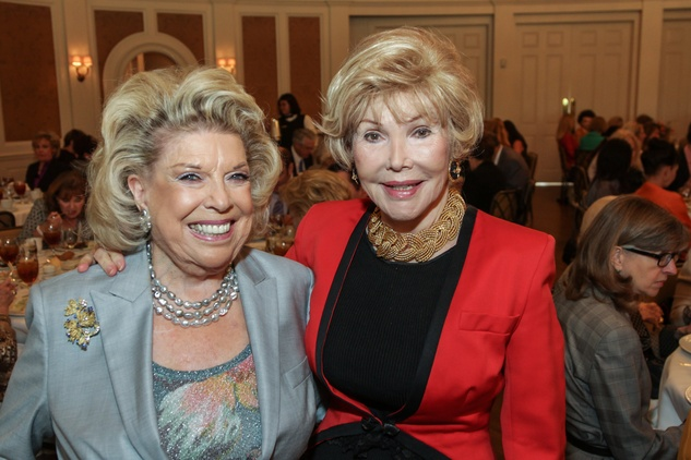 Joan Lyons, left, and Joanne King Herring at the Huffington Center on Aging luncheon October 2014