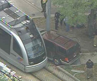 light rail, METROrail, train, SUV, crash, April 2013