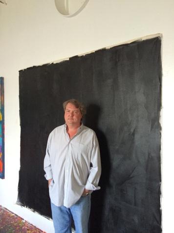 Van McFarland Houston artist December 2014 in front of painting