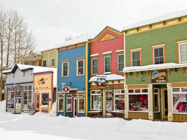Crested Butte downtown winter with snow