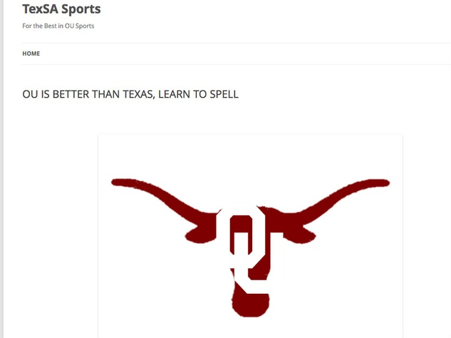 TexsaSports.com homepage of OU Longhorn purchased by Oklahoma Sooners fans