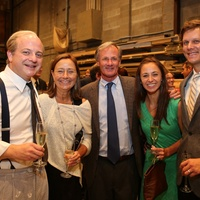 News, Shelby, Alley Theatre opening night dinner, August 2014, Jeffrey Bean, Connie and Roger Plank with Ryan and Blake Arnoult