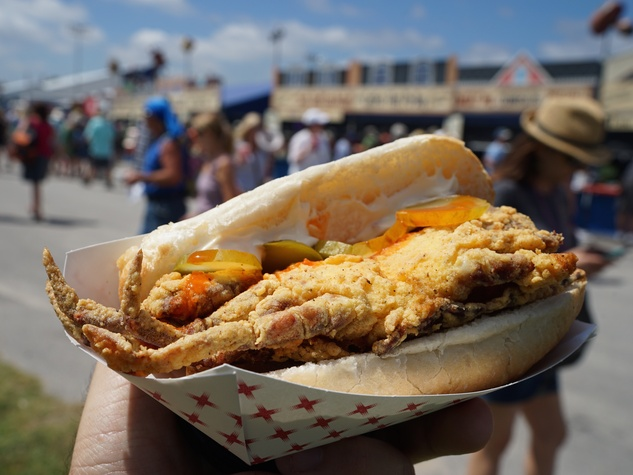 Jazz Fest in New Orleans soft shell crab sandwich