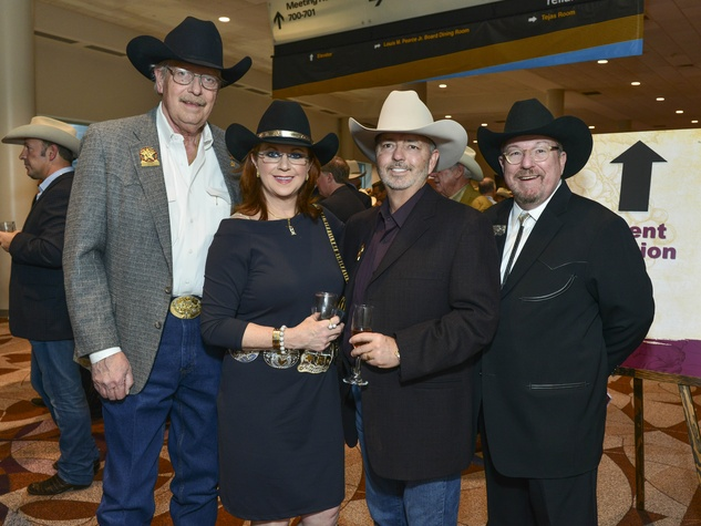 19 Gene Clark, from left, Laura and Jerry Kent and Archie Thompson at the RodeoHouston Wine Auction Dinner March 2014