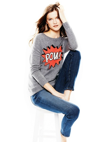 Pow! Intarsia cashmere sweater at Neiman Marcus