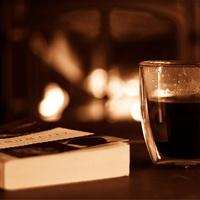 Book cozy fireplace tea