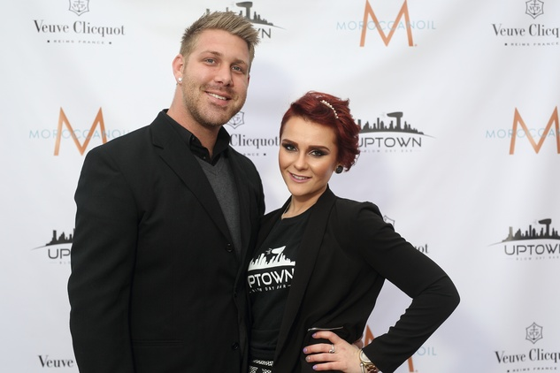 107 Michael Morton and Macy Qualls at the Uptown Blow Dry grand opening in Vintage Park March 2015