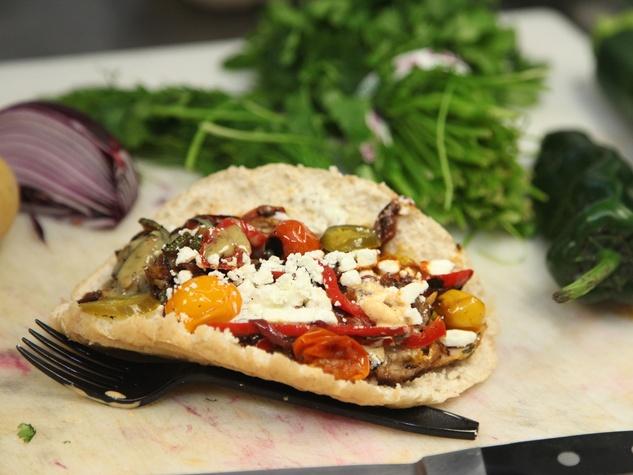 Verts grilled veggie Kebap sandwich open face