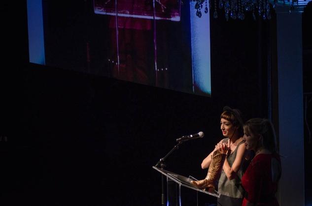 AFW Award show Priscilla Barroso accepts a 2013 Rising Star award