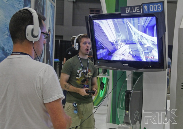 Gamer playing demo at RTX Rooster Teeth Expo