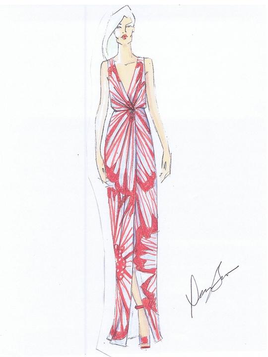 Fashion Week spring summer 2014 Dennis Basso sketch