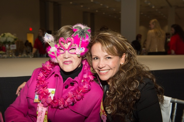 Sharon Erskine, left, and Clemencia Larimore at the Nutcracker Market Saks luncheon and fashion show November 2014