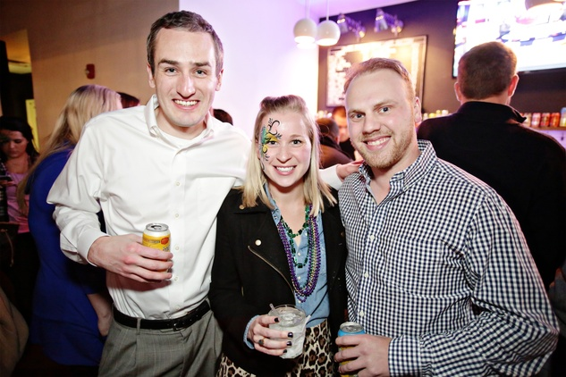 17 Tug Hanley, from left, Hanna Rossy and Vinnie Broussard at Gray's Public House Mardi Gras grand opening benefiting Urban Green February 2015