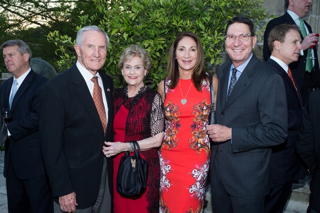 George and Annette Strake, from left, and Soraya and Scott McClelland at the Celebration of Reading kick-off April 2014