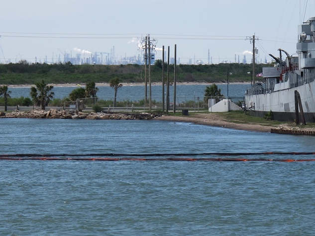20. Katie Oxford Galveston oil spill March 2014 Boom at Seawolf Park