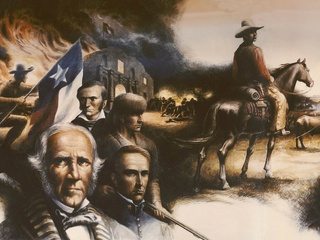 """portion of mural """"Texas Moving Towards Statehood"""" at Lorenzo Zavala State Archives and Library Building painted by Peter Rogers"""