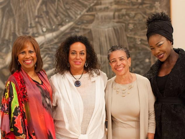 259 Melanie Lawson, from left, Toni Whitaker, Alvia Wardlaw and Elizabeth Anyaa at For the Sake of Art June 2014