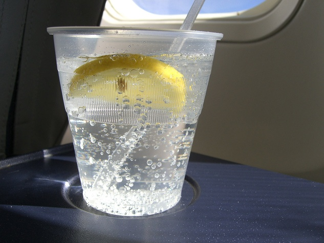 drink, soda, lemon, airplane, plane, gin tonic