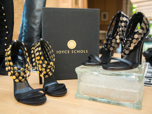 13 Strappy black shoes with coin embellishments at Joyce Echols Shoes Preview March 2015